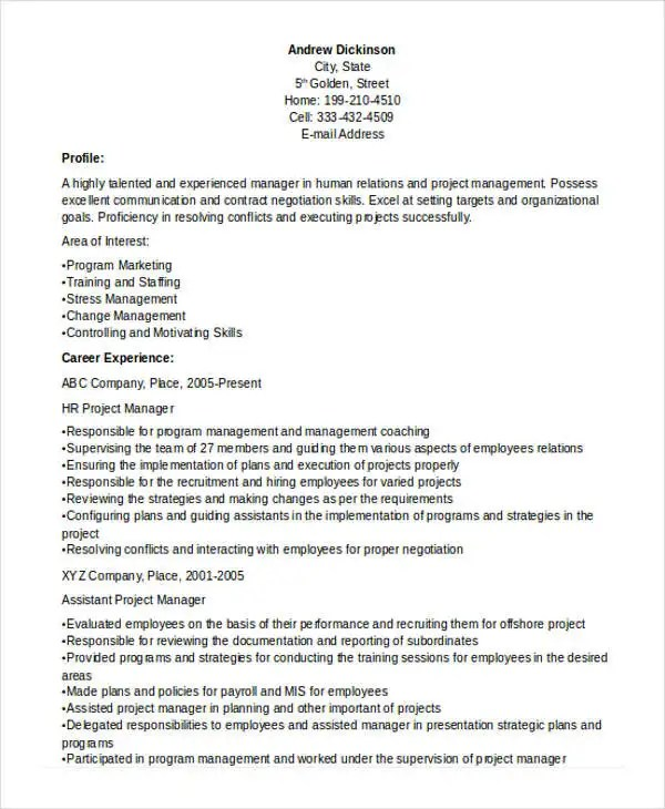 assistant project manager resume job description