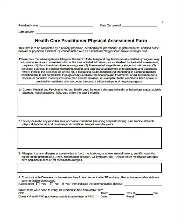 48+ Sample Assessment Forms Free  Premium Templates - free assessment forms