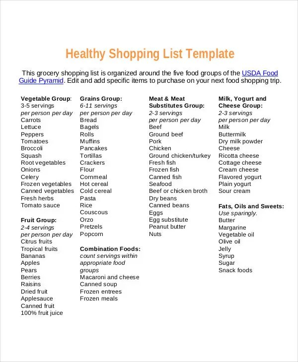 9+ Food Shopping List Templates - Free Samples, Examples, Format
