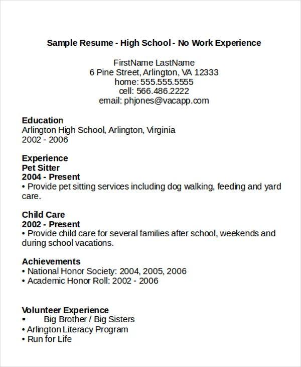 education resume sample high school