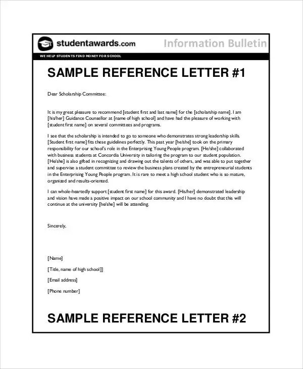 7+ Student Reference Letter Templates - Free Samples, Examples