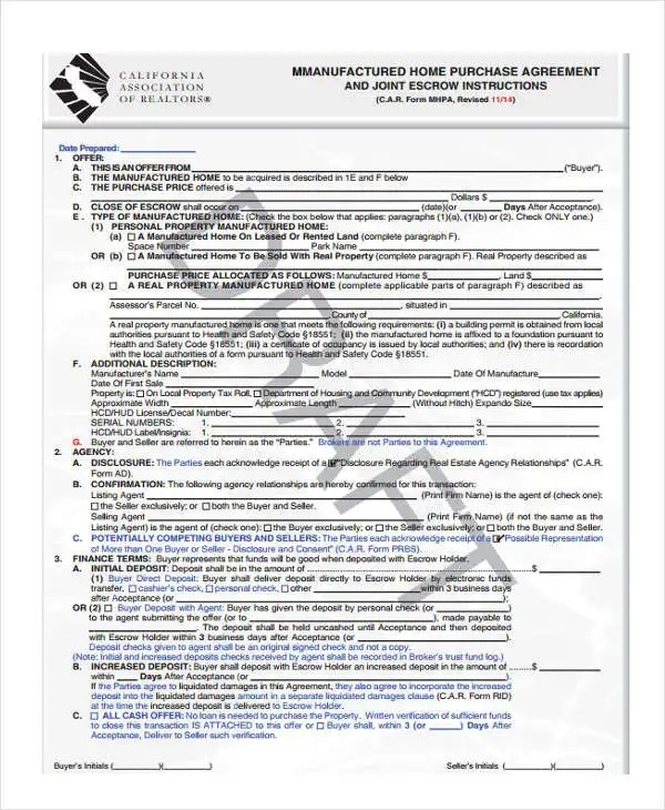 38+ Agreement Form Samples Free  Premium Templates - home purchase agreement