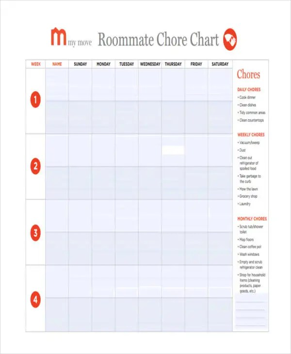 9+ Chore Chart Templates in PDF Free  Premium Templates