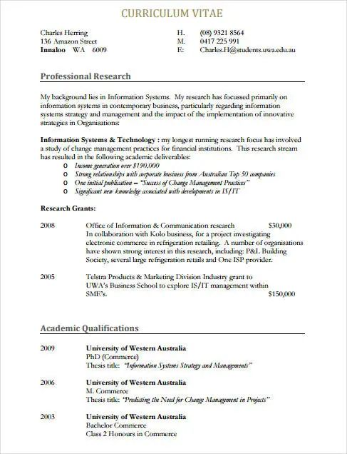curriculum vitae pdf download