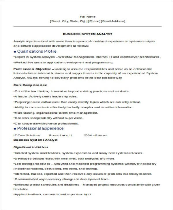 29 it resume samples free premium templates business system analyst resume