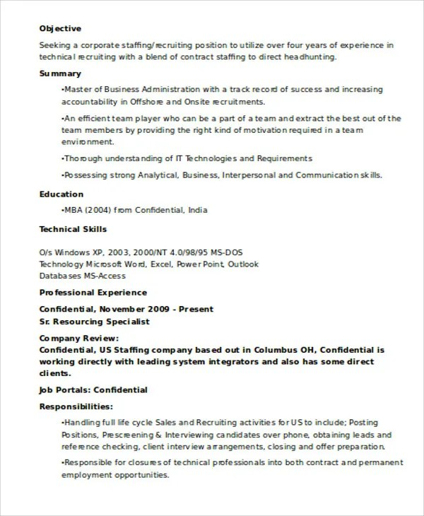 it recruiter resumes - Intoanysearch