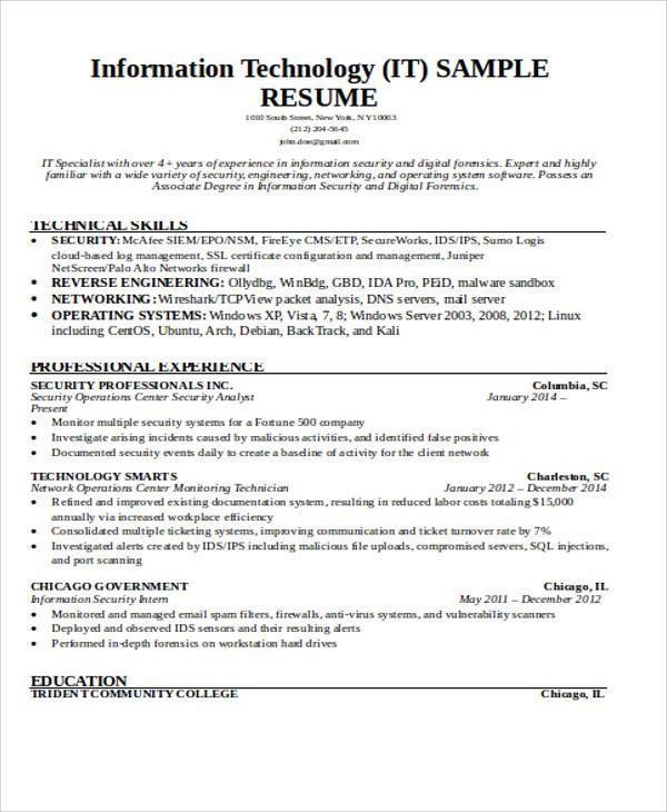 27+ Basic Work Resume Templates Free  Premium Templates - computer forensics specialist sample resume