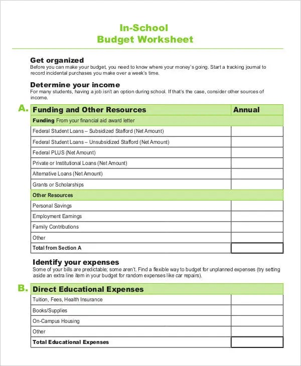 6+ School Budget Templates - Word, PDF, Excel Free  Premium Templates