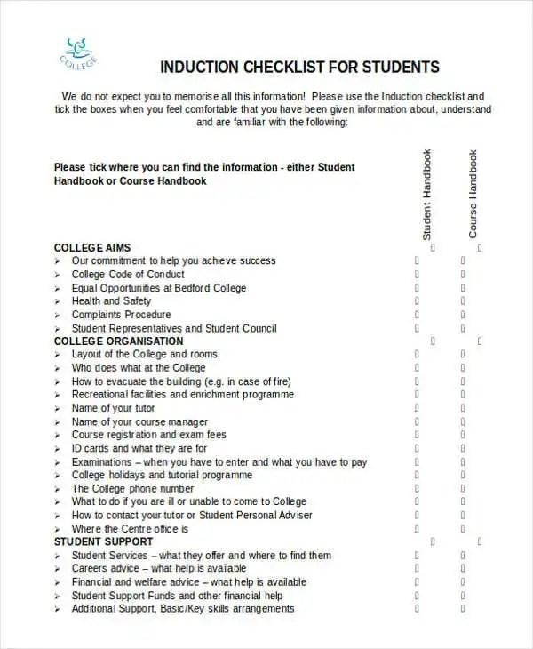 Induction Checklist Templates - 11 Free Word, PDF Format Download - induction checklist template