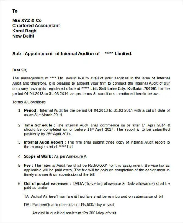 Auditor Appointment Letter Templates - 6+ Free Word, PDF Format