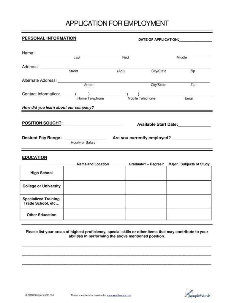blank resume form for job application pdf