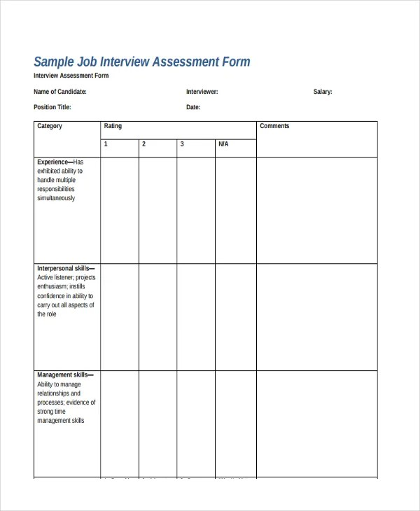 47+ Assessment Form Examples Free  Premium Templates