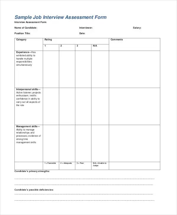 35+ Free Assessment Forms Free \ Premium Templates - interview assessment forms