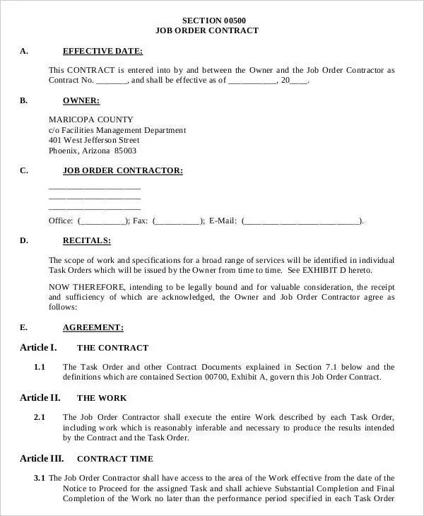 9+ Job Order Forms - Free Sample, Example Format Download Free - job agreement contract