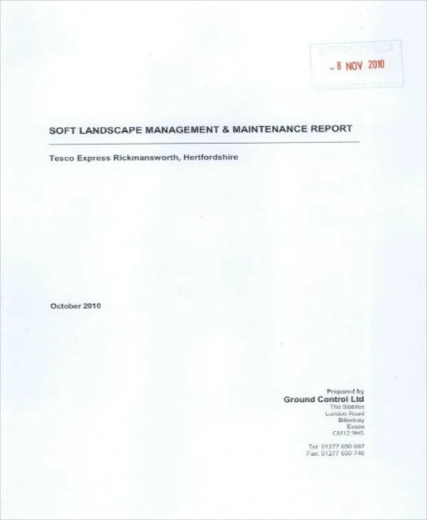 sample reports format