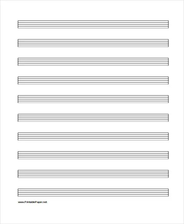 Music Staff Paper Template Music Staff Paper 100 Free Download for - music staff paper template