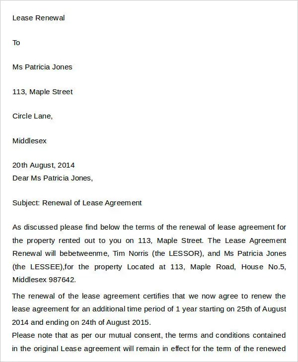 23+Agreement Letter Templates Free \ Premium Templates - lease extension agreement template