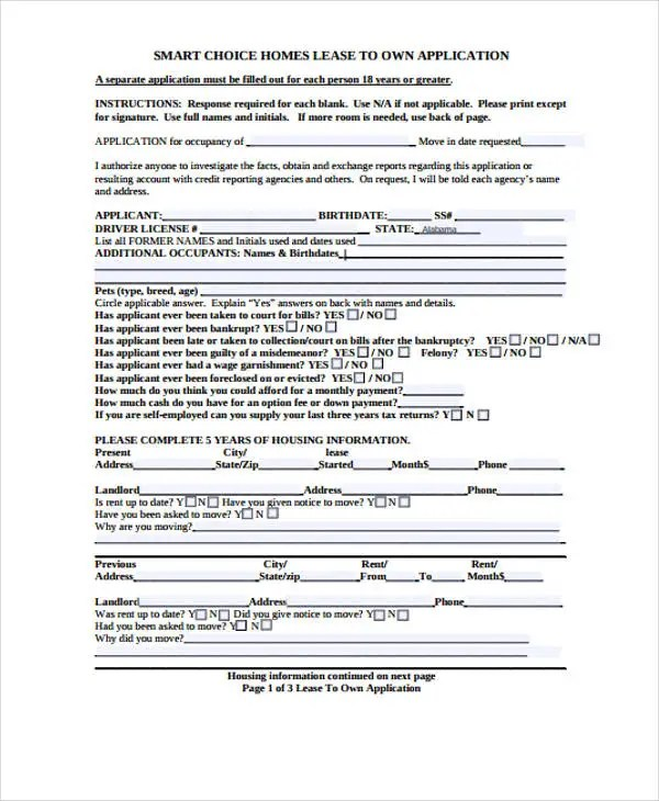44+ Basic Application Forms Free  Premium Templates - House Lease Application Form