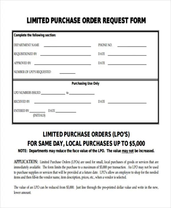 11+ Purchase Order Forms - Free Samples, Examples Formats Download - purchase request form