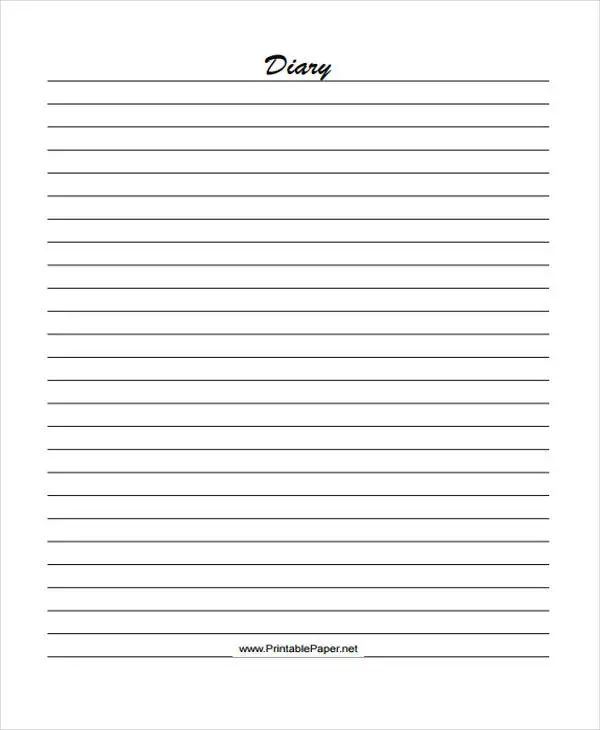 personal diary template