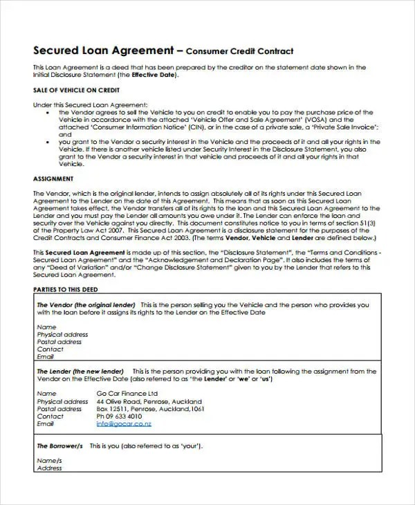 Secured Loan Template Images - Template Design Ideas - Person To Person Loan Contract