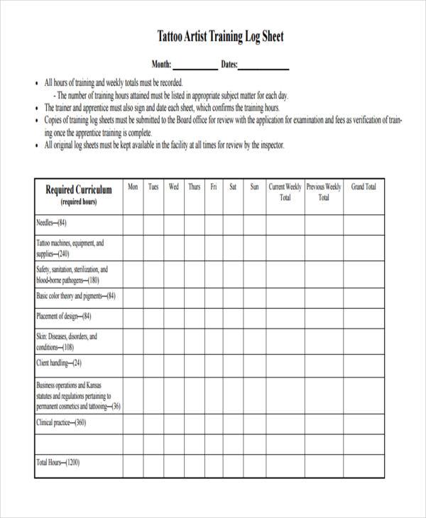 Training Sheet Templates - 6 Free PDF Format Download Free - training log template