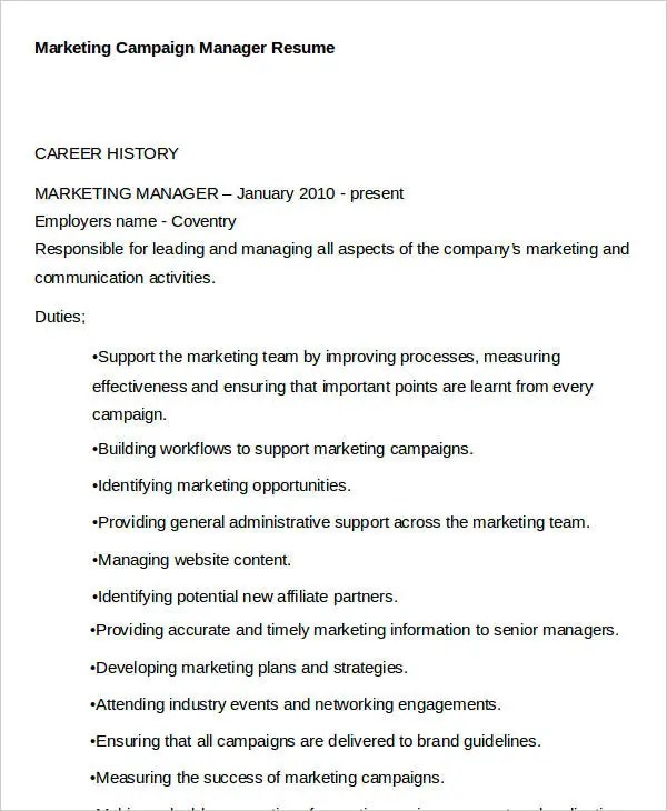 41 best marketing resume free premium templates campaign manager resume. Resume Example. Resume CV Cover Letter
