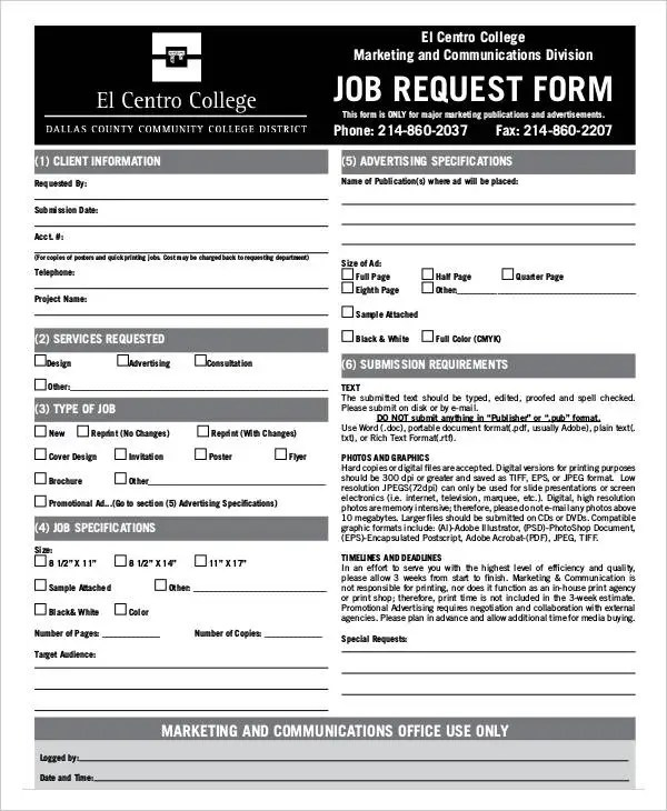 9+ Job Order Forms - Free Sample, Example Format Download Free - job request form