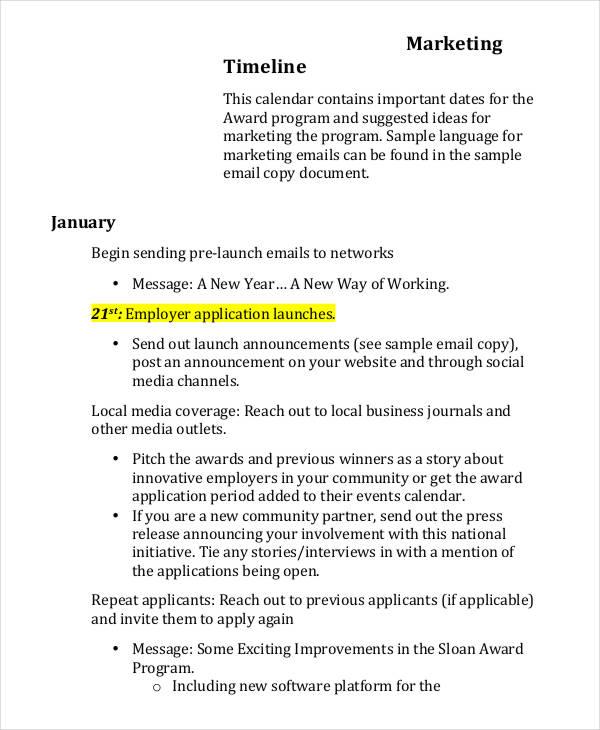 Marketing Timeline Templates - 4+ Free Word, PDF Excel Format