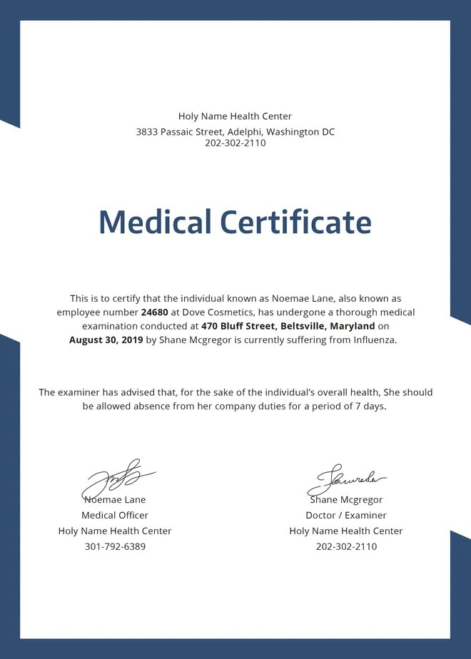 sample medical certificate - Selol-ink