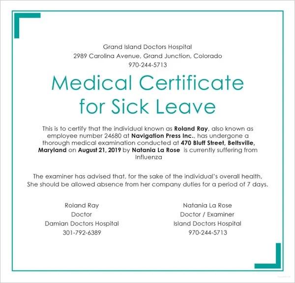 23+ Medical Certificate Samples Free  Premium Templates - medical certificate for sick leave