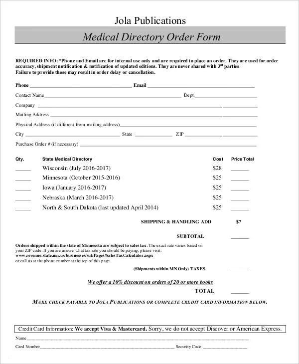 Medical Order Forms - 11+ Free Word, PDF Format Download Free