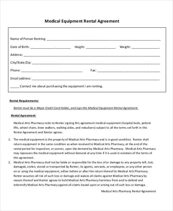 18+ Rent Agreement Format Templates Free \ Premium Templates - equipment rental agreement sample