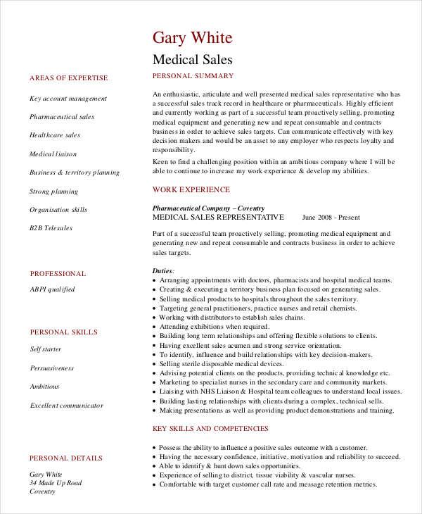Professional Sales Resume Templates - 31+ Free Word,PDF Document - medical sales resume sample