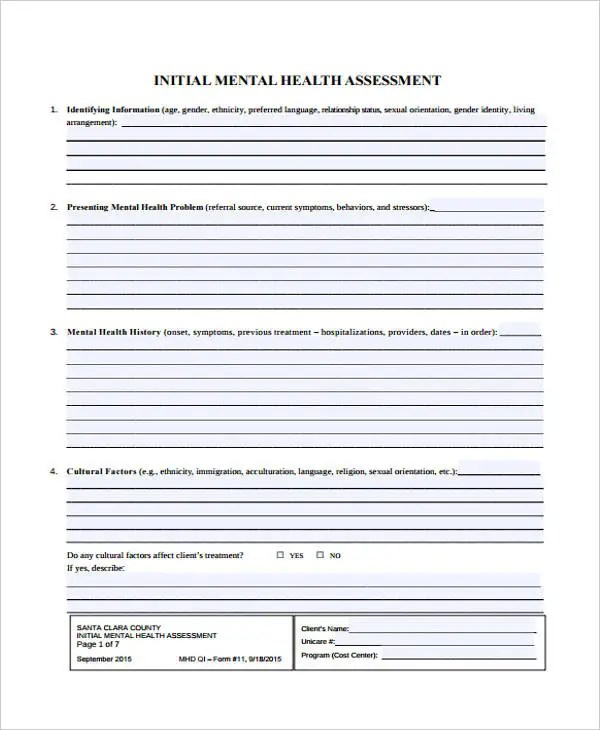 48+ Sample Assessment Forms Free \ Premium Templates - health history template