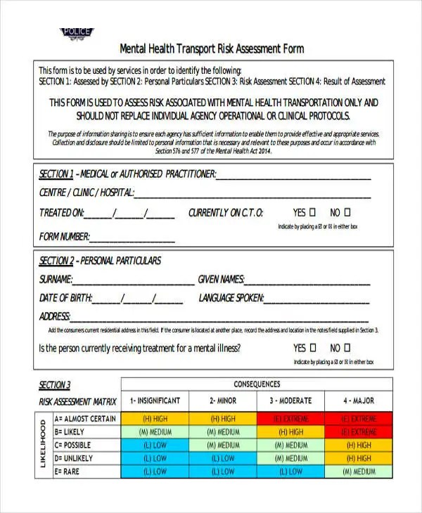 Free Risk Assessment Template risk assessment form