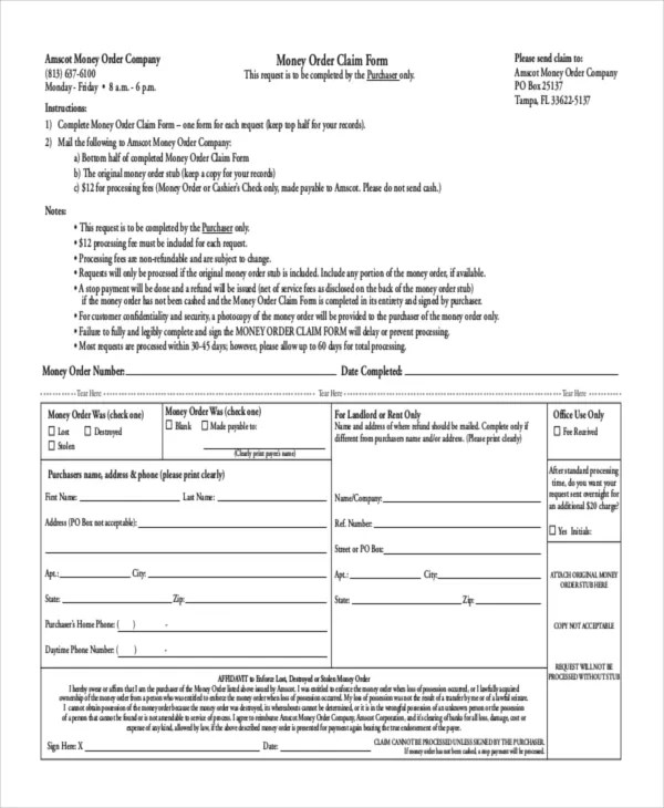 8+ Money Order Forms - Free Samples, Examples Format Download - money order form