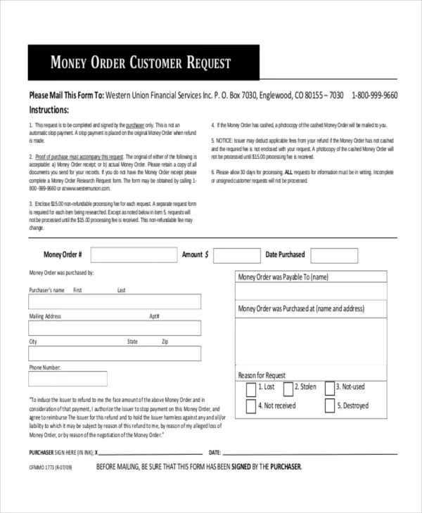 8+ Money Order Forms - Free Samples, Examples Format Download Free