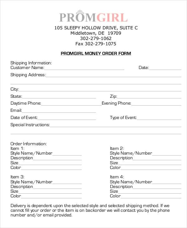 Money Order Forms - 8+ Free Word, PDF Format Download Free