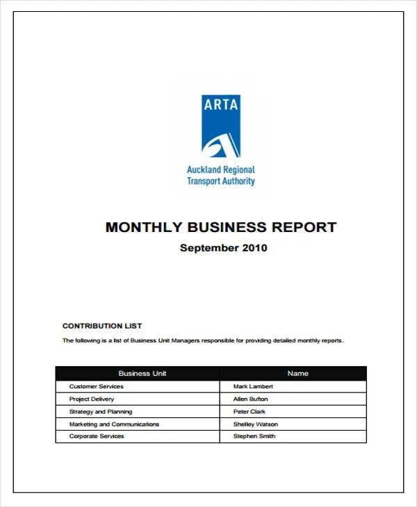42+ Monthly Report Format Templates Free  Premium Templates - business monthly report