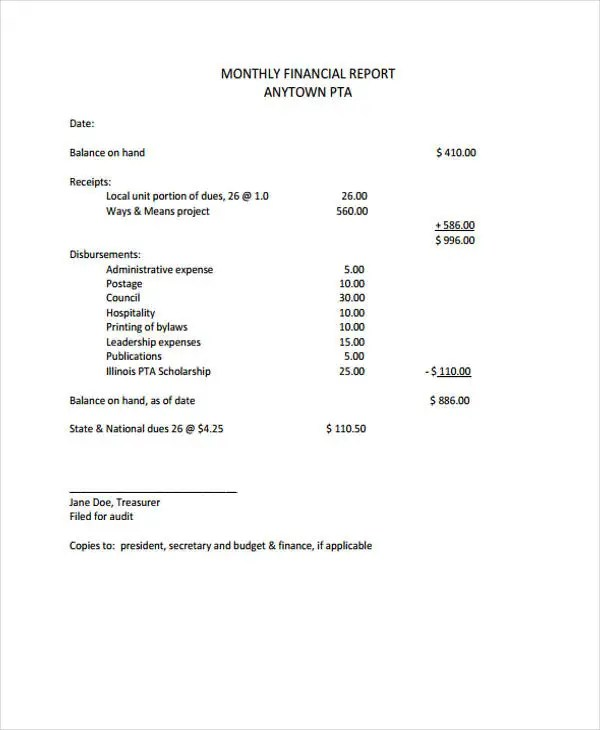 Monthly financial report sample jobsbillybullock - monthly financial report sample