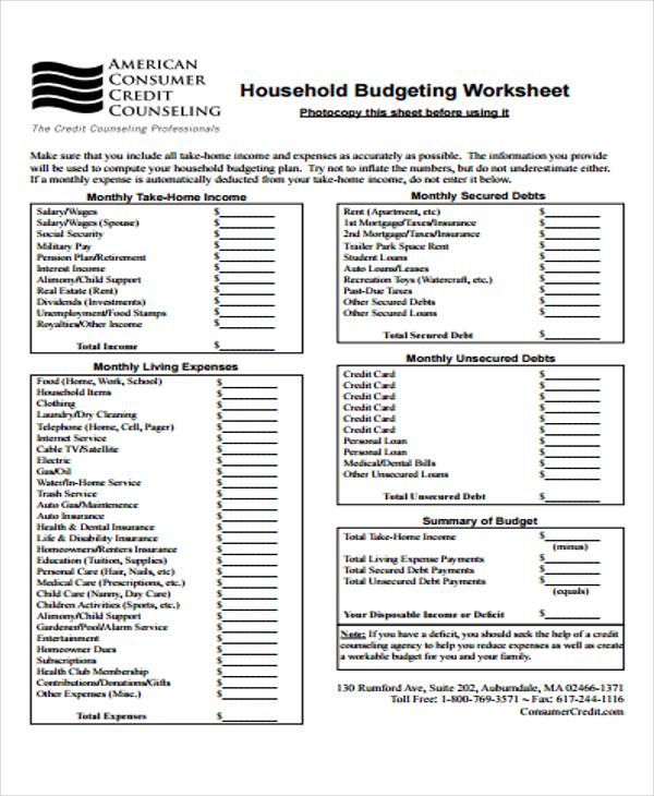 personal budgeting sheet
