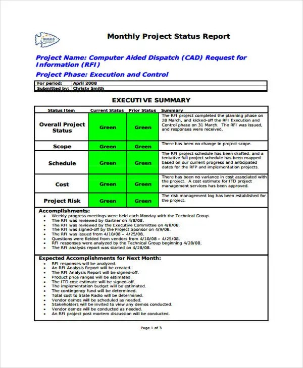 36+ Monthly Report Samples Free  Premium Templates - monthly project report template
