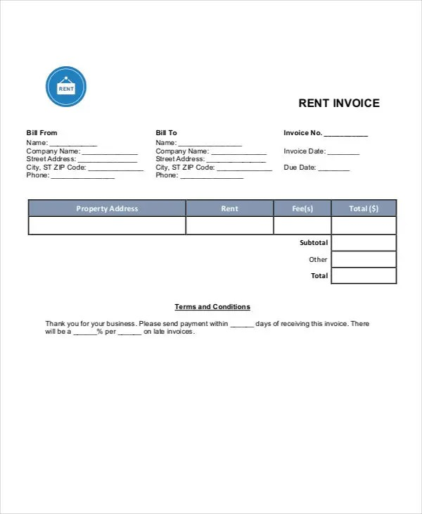 Rent Invoice Templates - 8 Free Samples, Examples Format Download - Invoice Templets