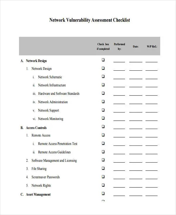 11 Assessment Checklist Templates - Free Sample ,Example Format