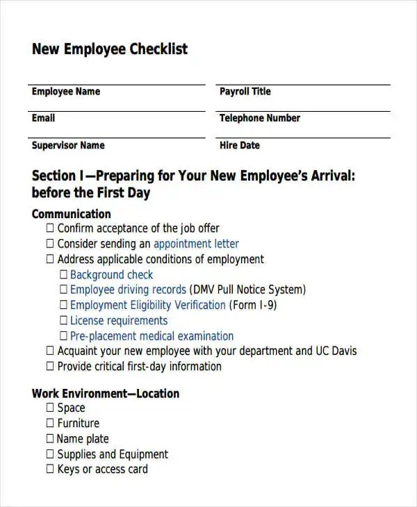 Employee Checklist Templates - 9 Free Samples, Examples Format - sample new hire checklist template