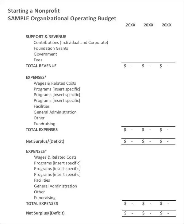 6 Non Profit Budget Template - Free Sample, Example Format Download