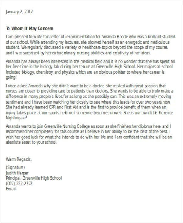 Reference Letter For School Sample Letter Of Recommendation For