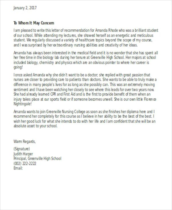 13+ Sample Nursing Reference Letter - Free Sample, Example Format