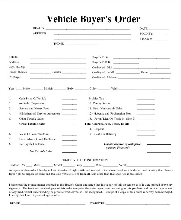 buyers order template - Josemulinohouse - vehicle purchase order form